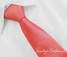 NEU KOLLEKTION: Schlips Krawatte Tie in LACHROSA uni sehr schmal 3cm Hochzeit