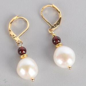 9mm Natural White baroque pearl Garnet bead Earring 18k Ear Drop Accessories