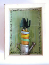 Gardening Theme Picture Shadow Box Watering Can Pots Garden Tools Sayings EUC