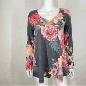 Soft Surroundings S Floral Tunic Blouse Top Gray Stretch Long Sleeve Lounge