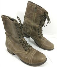 Steve Madden Military style Mid calf Lace up boots Brown leather TROOPA Sz 7.5 M