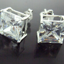 STUD EARRINGS REAL 925 SOLID STERLING SILVER DIAMOND SIMULATED PRINCESS CUT