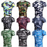 Men's Compression Tops Workout Running Gym T-shirts Sports Camo Print Dri fit