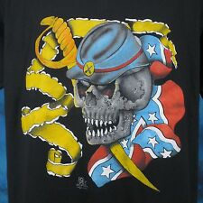 vintage 80s CIVIL WAR SKELETON SOLDIER PAPER THIN T-Shirt LARGE biker skull army
