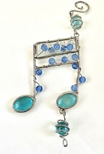 Musical Note Sun Catcher Dangling Beaded Lead 8 Inch Blue Teal