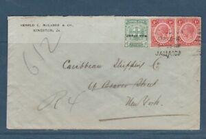 enveloppe  de la Jamaique pour USA New York affranchissement mixte 1916