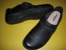 Clarks Cheyn Madi Leather Slip-On Comfort Shoes  Women's 7 W Black 7W