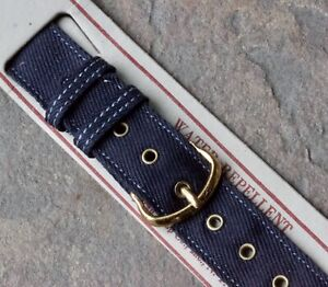 WW2 canvas 16mm vintage military watch band 1940s USA gold buckle and grommets