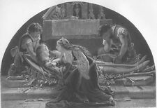 Girl Mourns DEAD LOVER KNIGHT KILLED BY HER BROTHERS ~ 1863 Art Print Engraving