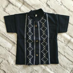 Handmade Boys Navy Blue Mexican Guayabera Shirt Sizes 2 4 6 8 Camisa de Niño