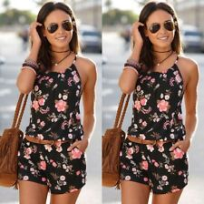 Size 6-18 Womens Backless Pockets Ladies Summer Holiday Playsuit Shorts Jumpsuit