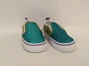 Vans New Slip-On V Mermaid Glitter Color Block Vault Toddler Size USA 5