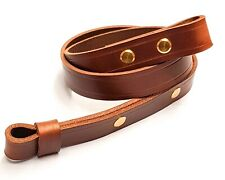 Rifle sling chestnut brown leather with distressed finish perfect for air rifles