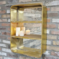 Gold Metal Wall Unit Mirrored Back 3 Shelves Storage Display Industrial Shelving