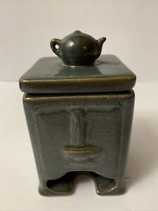 "Blue/ Gray Ceramic Tea Bag Holder & Dispenser - 5"" High x 3 1/4"" Wide"