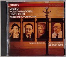 REGER: Mozart Variations PHILIPS Full Silver USA Sir Colin Davis CD NM