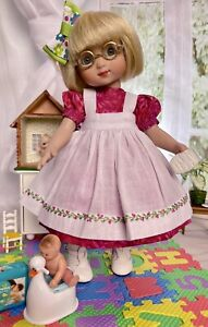 "24cm Boneka Dress + Embroidered Pinafore for Tonner 10"" Ann Estelle & Patsy"
