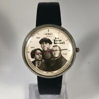 Vintage Centric Mens The Three Stooges Harlo Quartz Analog Watch Leather Band