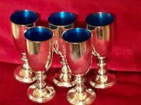 Set Of 5 Silver Cordials Enameled Blue Inside , W & S Blackinton