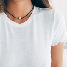 1pc Hot Fake Pearl Choker Necklace Black Rope Velvet Collar Leather Femm Chocker
