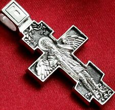 Archangel Michael Patron Authentic Russian Orthodox Protective Cross. Silver 925