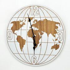 World Map Wall Clock Oversized Shabby Chic Style Battery XXL Home Decor 60cm