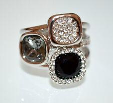 ANELLO argento donna cristalli nero grigio brillantini strass fedina ring A23