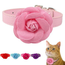Red Pink Purple Blue Big Flower Dog Collars Leather for Girl Dogs Pet Puppy Cat