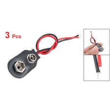 3x - 9 volt Battery Connector Clip - Faux Leather Soft Top (150mm Long Wires)