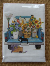 Mary Lake Thompson Flour Sack Towel - Blue Pickup Truck, Flower Baskets, Cat