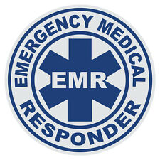Emergency Medical Responder EMR Small Round Reflective Firefighter Decal Sticker