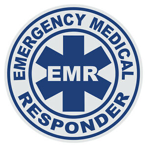 "Emergency Medical Responder EMR 2"" Round Reflective Firefighter Decal Sticker"