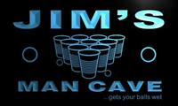 x0153-tm Jim's Man Cave Beer Pong Bar Custom Personalized Name Neon Sign
