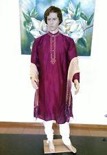 "38"" Small 95 Cm Silk Sherwani Suit Indian Bollywood Mens Kurta Plum Purple KA10"