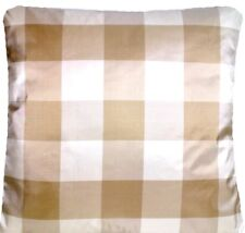 Checks Cushion Cover Cream & Beige Silk Pillow Throw Case Osborne and Little