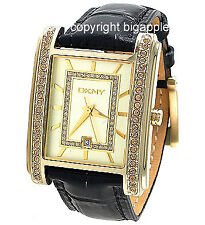 DKNY GOLD CRYSTAL CASE BLACK  LADIES WATCH NY4396