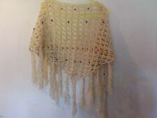 Festival boho handmade cream crochet shawl with wooden beads