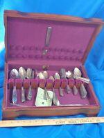 51pc LOT SET Antique Silver-plate Flatware Oneida Triple 1847 Wm Rogers Wood