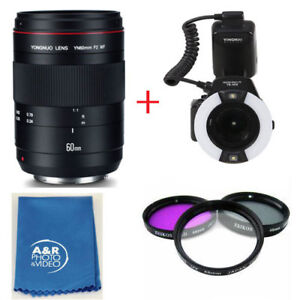 YONGNUO YN60mm 60mm F2 MF Macro Lens Kit for Canon With YN14EX Macro Ring Lite
