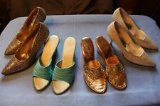 Lot -4 Pair Vintage Ladies Shoes -Size 6 1/2 to 7 1/2 -Gold, Multi, Blue, Silver