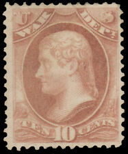 1873 10c ROSE WAR MINT #O88 well-centered o.g. traces of hinging covering most o