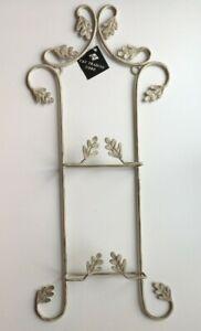 Vertical Display Rack for 2 Plates Wall Hanging Beige Distressed Leaves Metal