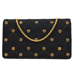 CHANEL Quilted Full Flap Single Chain Shoulder Bag 2164859 Black Cotton AK31503b