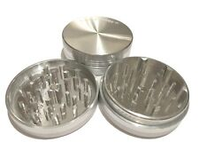 """NEW Sharpstone 2.5"""" Inch Hard Top Herb and Tobacco Grinder, 2 pc, Large, Silver"""