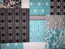 "Teal Black Grey Patchwork 42""W 15""L Window Curtain Valance Cotton  fabric"