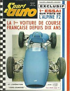 """Magazine """"SPORT AUTO"""" n° 27 Avril1964 """"Essai sur piste de L'Alpine F2"""""""