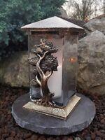 Lanterne Funéraire Bougie Socle Lampe pour Tombes Lumière Photophore L'Arbre