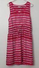 NEW Gap size M Tall lined sleeveless dress pink white striped pullover NWT