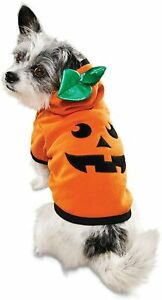 Halloween Dog Hoodie Costume, Orange Pumpkin Jack O' Lantern Pet Wear