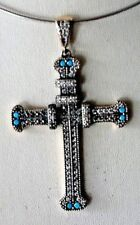BEAUTIFUL 925 SILVER & BRASS CROSS WITH TURQUOISE & TOPAZ 13.5 GR.7X4.5 CM. WIDE